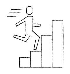 businessman run up ladder diagram bars success vector image vector image