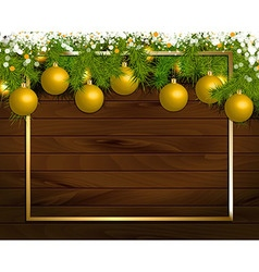 Christmas wooden background vector image