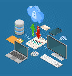 Cloud computing technology isometric vector