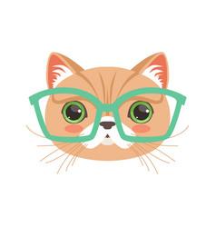 Cute cat wearing glasses funny cartoon animal vector