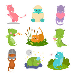 cute kid baby dragon dinosaur fantasy animals vector image