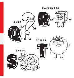 danish alphabet question sugar snail tomato vector image vector image
