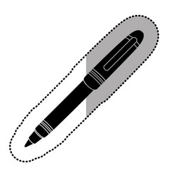 dark contour metal ballpen icon vector image