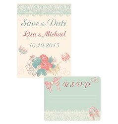 Design in retro-style cards save the date and rsvp vector