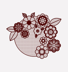 floral lace ornament circular in monochrome vector image