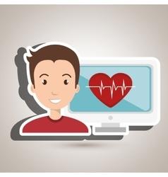 Man cardiology screen tecnology vector