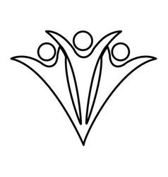 people teamwork silhouette emblem vector image