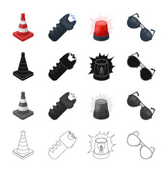 Restrictive cone electric shock police flasher vector