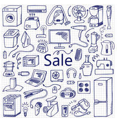 sale household doodle set vector image vector image
