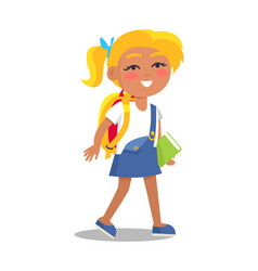 schoolgirl in uniform in blue and white colors vector image