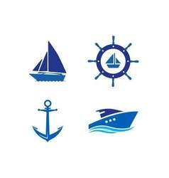 Ship Wheel Anchor and Yacht logo - isolated vector image vector image