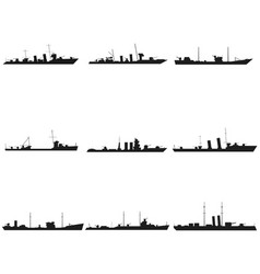 ships silhouettes set black icon on white vector image vector image