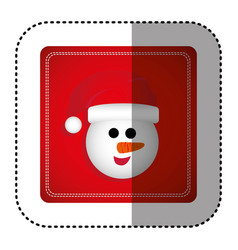 Sticker colorful square frame with cartoon snowman vector