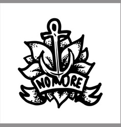 Tattoo with anchor on background of the leaves vector