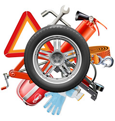 wheel with car accessories vector image