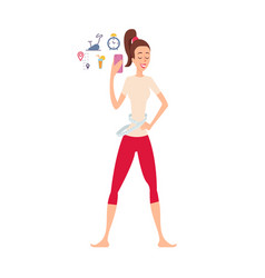 woman using application for weight loss takes vector image vector image