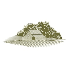 Woodcut barn in missouri vector