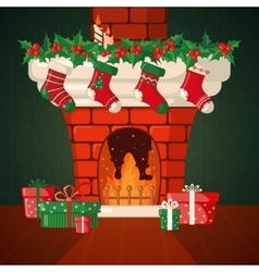 Christmas Card with fireplace and socks vector image