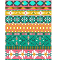 Seamless colorful aztec pattern with birds vector