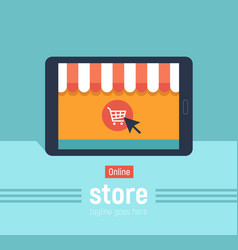Banner online store with tablet vector