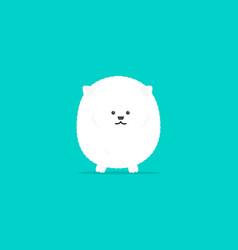 white pomeranian flat cartoon character vector image