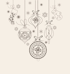 Christmas ornaments doodles vector