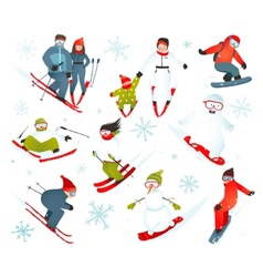 Skier snowboarder snowflakes winter sport vector