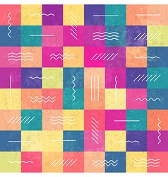 Retro seamless pattern color squares and lines vector