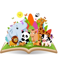 Funny animal cartoon in the forest on the book vector