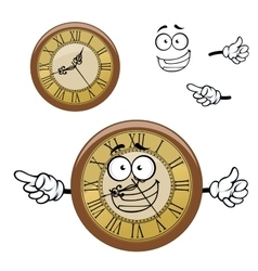 Vintage isolated clock cartoon character vector