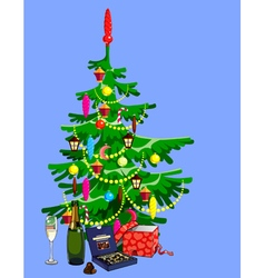 Christmas tree decorated with gifts vector