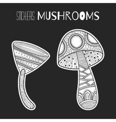 Decorative mushrooms black white stickers vector