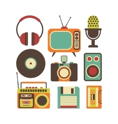 Retro media technology vector