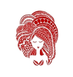 Female face ornate hairstyle for your design vector