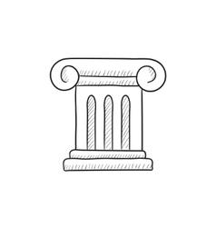 Ancient column sketch icon vector