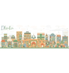 Abstract dhaka skyline with color buildings vector