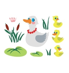 Set of mother duck with three baby ducks vector