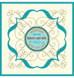 Bakery logo with florish frame and vingae border vector