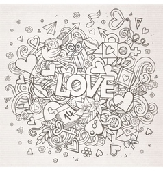 Cartoon hand drawn Doodle Love vector image