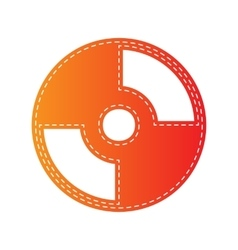 CD or DVD sign Orange applique isolated vector image vector image