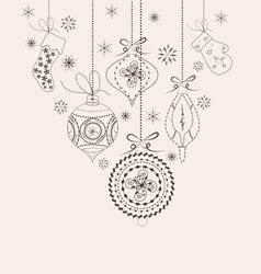 Christmas ornaments doodles vector