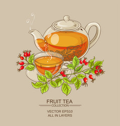 Cup of wild rose hips tea and teaapot vector