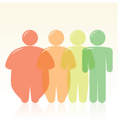 Diet and fat to thin human silhouettes vector