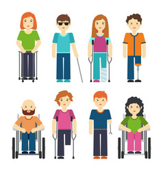 disabled people isolated on white background vector image vector image