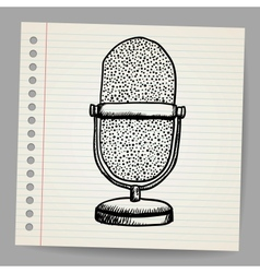 Doodle retro microphone vector image