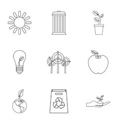 Environment icons set outline style vector