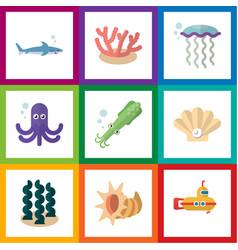 Flat icon marine set of alga conch seashell and vector