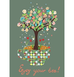 Funny card with tea cup and flowers on the tree vector
