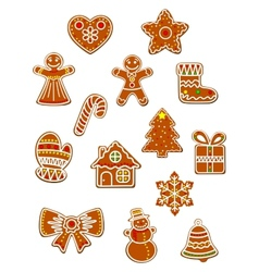 Gingerbread Christmas figures set vector image