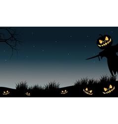 Halloween scarecrow and pumpkins silhouette vector image vector image